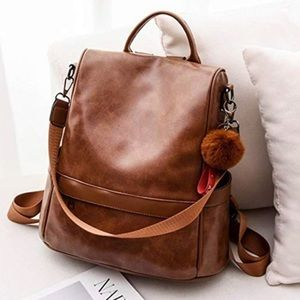 Anti-theft PU Leather Backpack Purse (Tan)